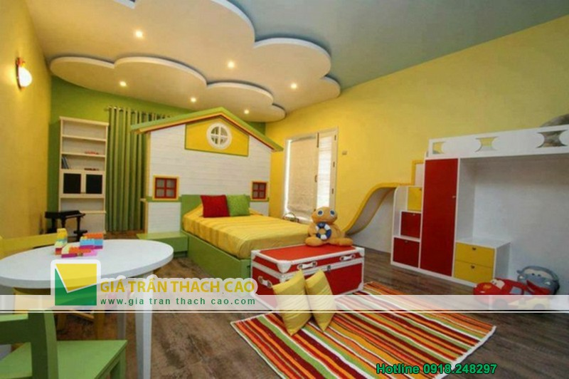 Thiết kế trần thạch cao cho phòng ngủ bé gái cực xinh-05