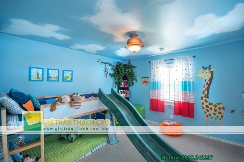 Gợi ý những mẫu trần thạch cao đẹp nhất cho phòng ngủ trẻ em-03